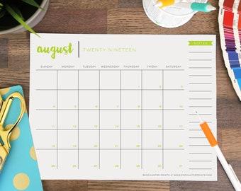 Printable Academic Calendar 2020-16 16 month calendar | Etsy