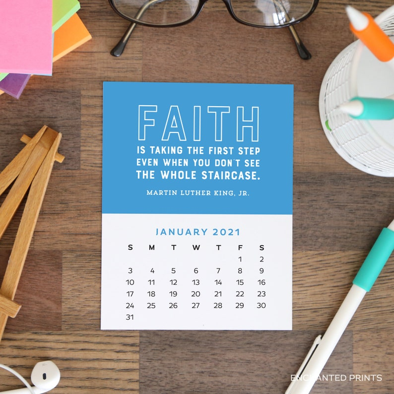 2021 Printable Calendar Cards 12 month Motivational Quotes ...