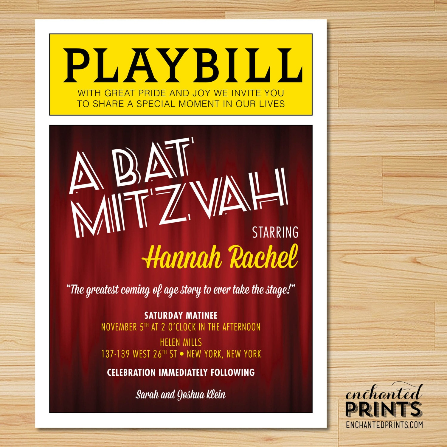 Broadway Bat Mitzvah or Bar Mitzvah Playbill Invitations with | Etsy