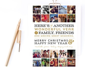 Instagram, Hashtag Multiple Photo Collage Year of Memories - Christmas or Holiday Card - Printable or Printed