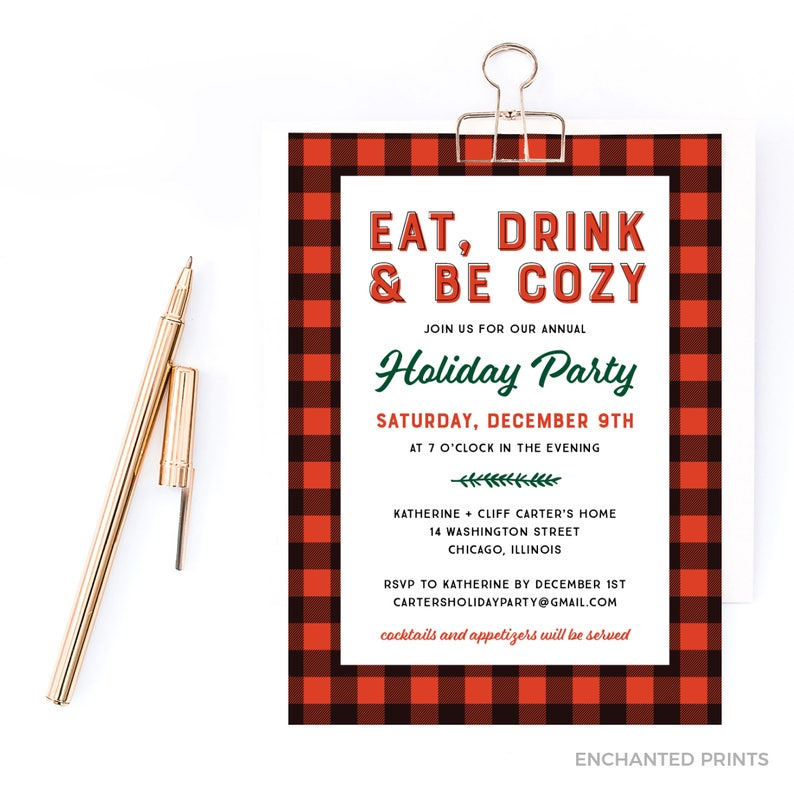 Eat Drink and Be Cozy Holiday Invitation Christmas Party image 0