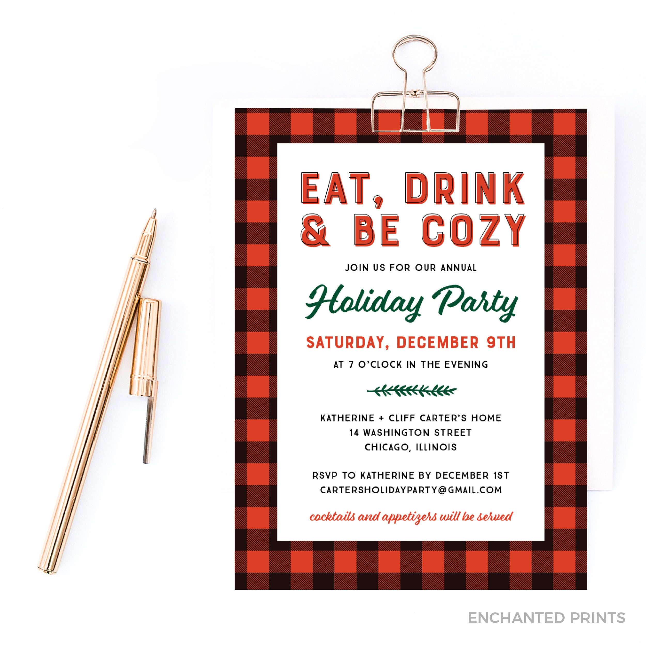 Eat Drink and Be Cozy Holiday Invitation Christmas Party | Etsy