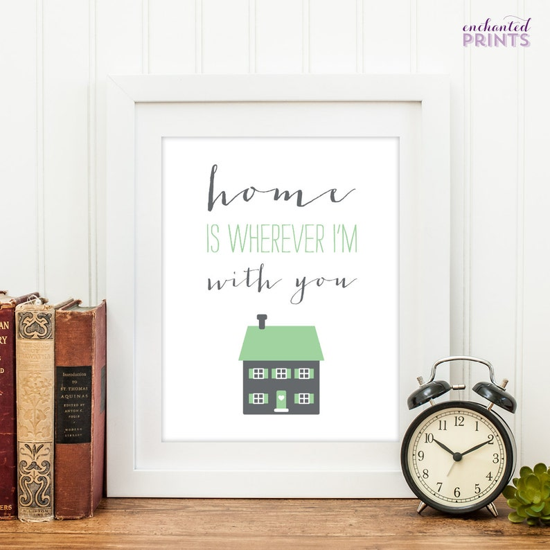 Home is wherever I'm with you Quote Print Printable art image 0