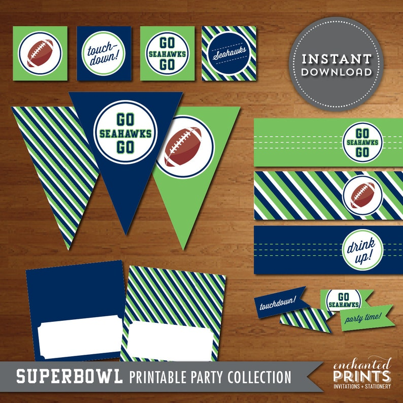 Seattle Seahawks Superbowl Party Printables  Instant Download image 0