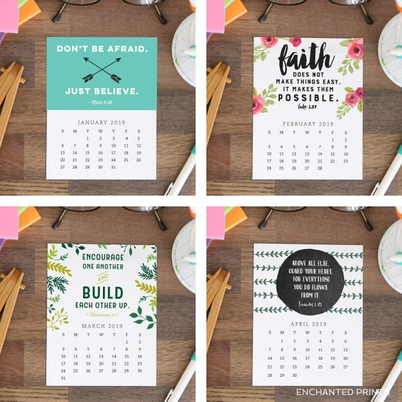 Printable 2019 Desk Calendar 12 Month Bible Verses And Etsy