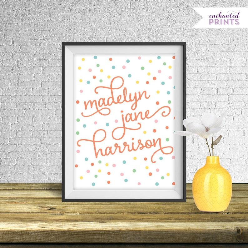 Nursery Art Print Girl Baby Name Wall Decor Sprinkle image 0