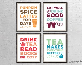 Coffee and Tea Lovers Art Printable Set of Four - Kitchen Art Decor- Coffee and Tea Lover Gift - Instant download