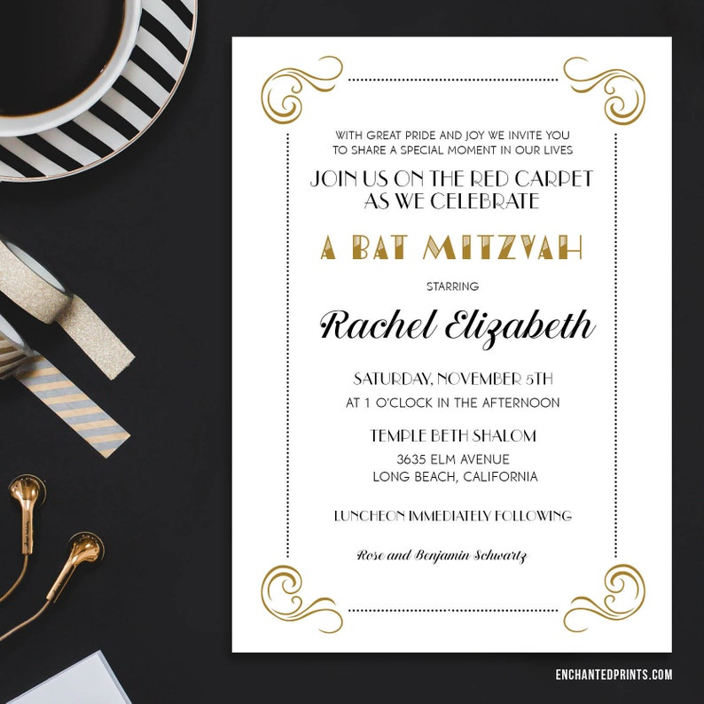 Red Carpet Bat Mitzvah Invitations with reply card  Art Deco image 0