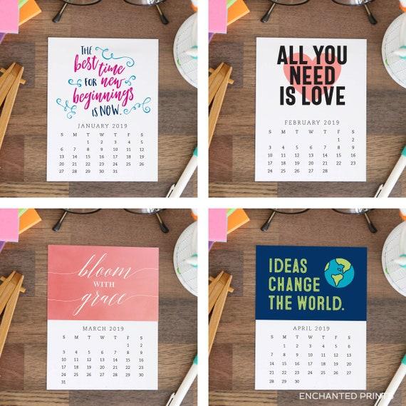 50 Off Printed 2019 Desk Calendar 12 Month Inspirational Etsy