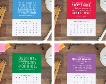 2021 Printable Calendar Cards - 12 month Motivational Quotes Calendar - Stocking Stuffer Last Minute Gift Instant Download
