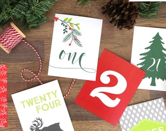 Printable Advent Calendar - 25 Card December Calendar - Countdown to Christmas - DIY Christmas Decor - Christmas Cards - Instant Download