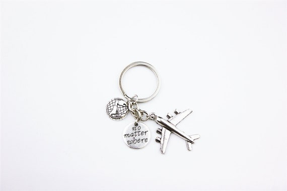 Xmas Birthday, Silver Coloured Aeroplane Key Ring Great Gift For All