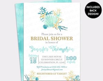 beach bridal shower invitation seashell wedding shower invite sea mermaid bridal watercolor aqua teal gold bridal brunch invitation