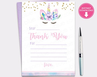 graphic relating to Fill in the Blank Thank You Cards Printable called Blank thank yourself card Etsy