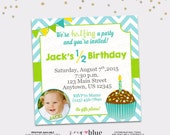 Half Birthday Invitation Boy 6 Month Cupcake Blue Green Chevron Aqua Yellow First