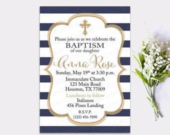JUNE SALE NAVY Baptism Invitation Boy Christening Invite First Communion Navy and Gold elegant Baptism Navy blue cross religious Printable I