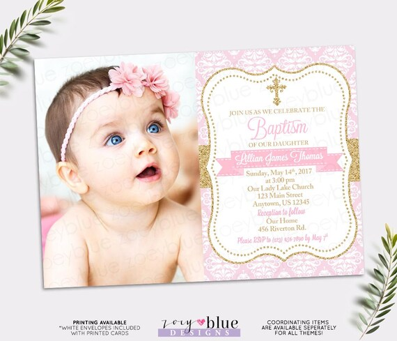 pink gold baptism invitation baby girl christening invite etsy