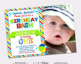 Pool Party Birthday Bash Invitation Beach Ball 1st First Birthday Colorful Striped Rainbow with Picture - Printable Digital File