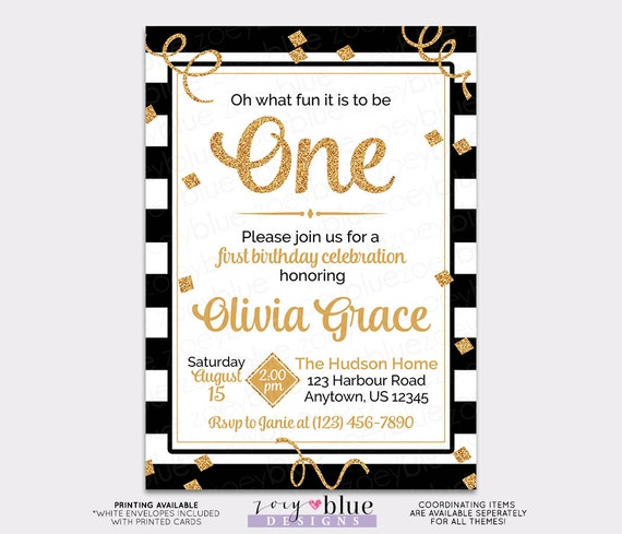 Black White Gold Girl First Birthday Invitation Glitter