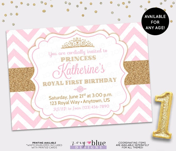princess birthday invitation pink gold chevron pattern gold glitter