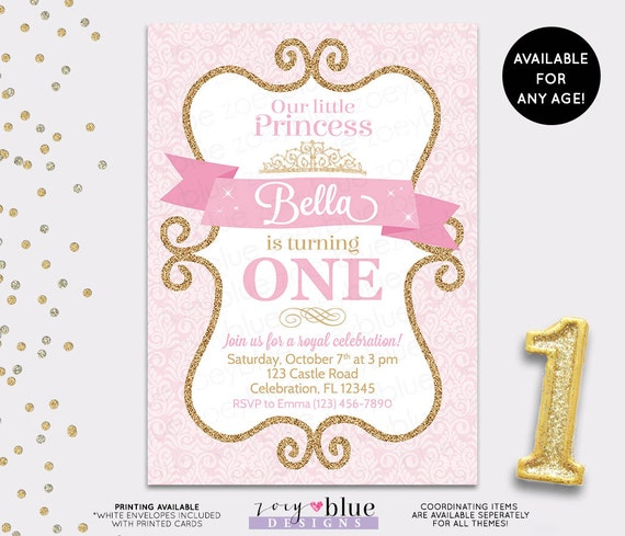 Princess Birthday Invitation Girl Gold Glitter Pink Damask