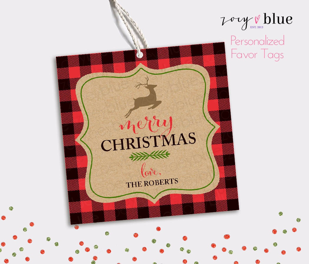 Buffalo Plaid Christmas Gift Tags Personalized Christmas Favor | Etsy