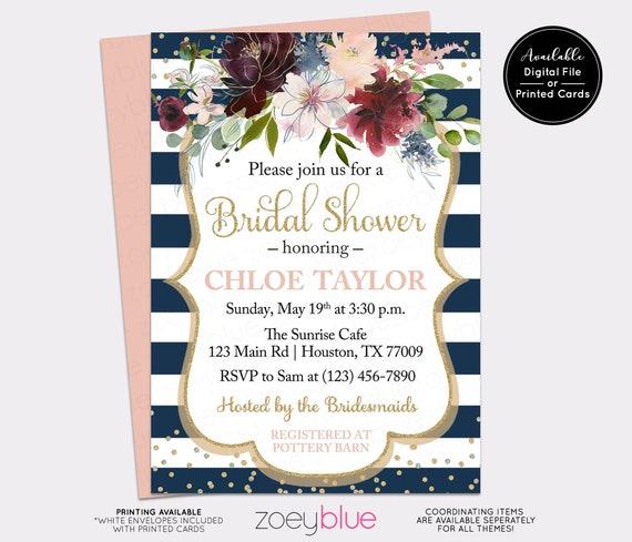 2c651a16a496 NAVY BLUSH Bridal Shower Invitation - Floral BURGUNDY Peony Watercolor  Bridal Brunch Invite - Winter Bridal- Brunch Bubbly Invite Printable