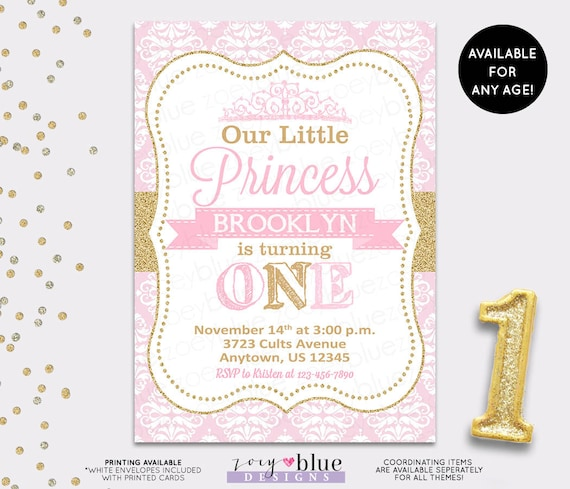 PRINCESS BIRTHDAY INVITATION Princess Invitation First