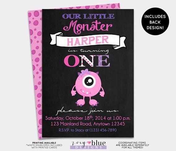 Monster Birthday Invitation Little First Chalkboard Bash Halloween Pink Girl 1st Printable Digital File