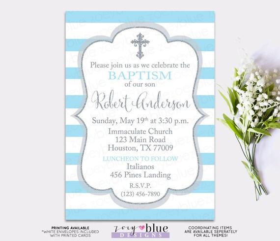 baby blue baptism invitation boy christening invite first communion