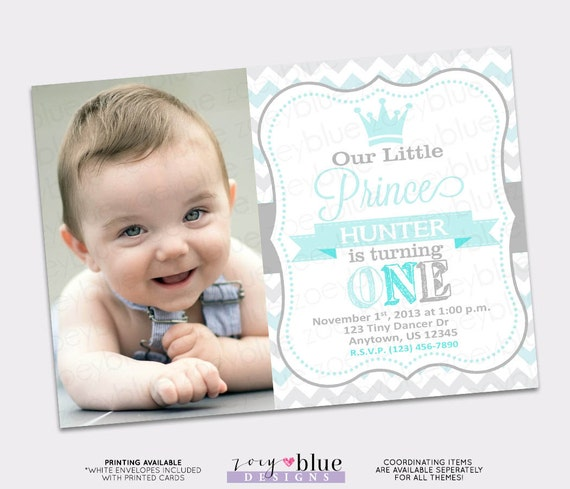 little prince birthday invitation boy first birthday light baby blue