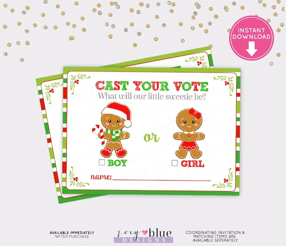 Gingerbread Gender Reveal Voting Card Christmas Baby Shower Games