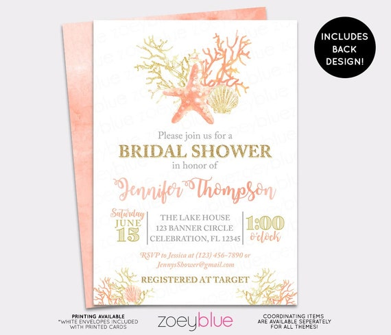 beach bridal shower invitation seashell wedding shower invite