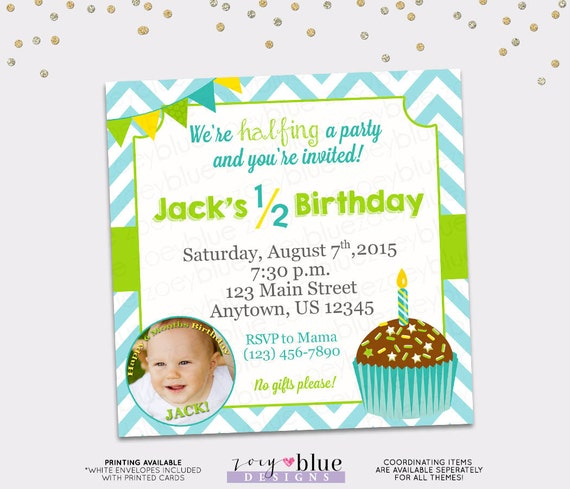 Items Similar To Half Birthday Invitation Boy 6 Month Cupcake Blue Green Chevron Aqua Yellow First