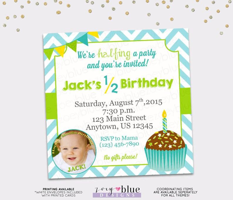 Half Birthday Invitation Boy 6 Month