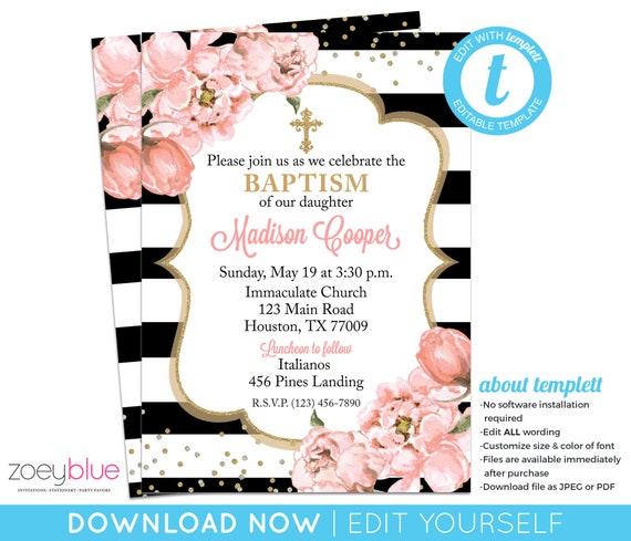 Girl Baptism Invitation Blush Pink Black Gold Invite Peony