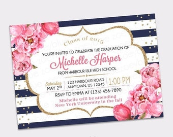 JUNE SALE Peony Graduation Invitation - Navy White Gold Watercolor Floral Pink High School Grad College Graduation Invite Printable Digital
