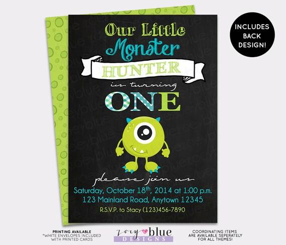 Monster Birthday Invitation Little Monster First Birthday Chalkboard