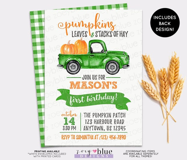 Green Boy Pumpkin Birthday Invitation