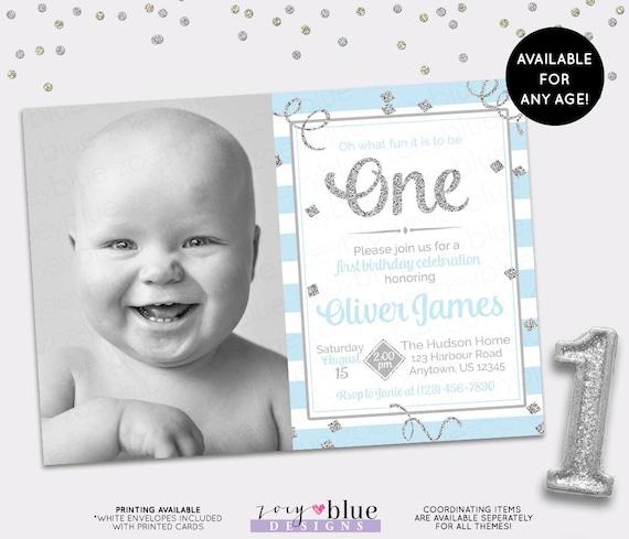 Boy First Birthday Invitation Blue Silver 1st Birthday