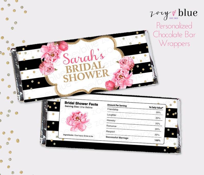 Peony Bridal Shower Chocolate Bar Wrapper Black White Gold Etsy