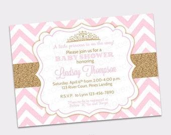 JUNE SALE Princess Baby Shower Invitation Pink Chevron Gold Glitter Little Princess Invitation Girl Baby Shower Invite - Printable Digital F