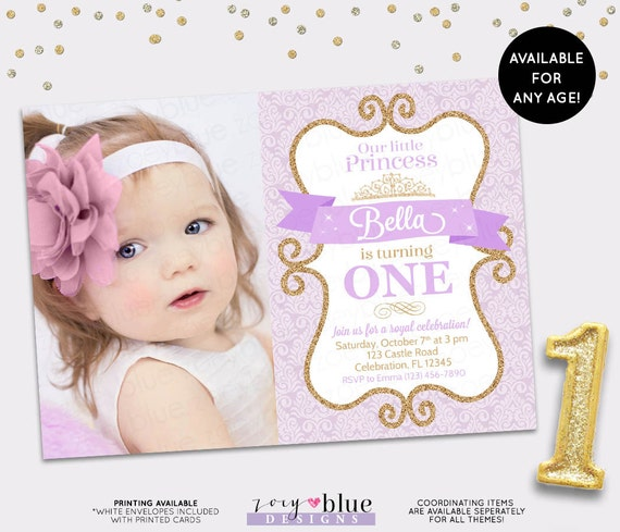 Princess Birthday Invitation Lilac Gold Damask Purple Glitter