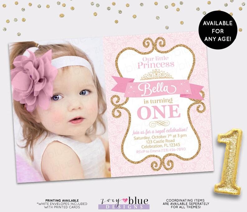 Princess Birthday Invitation Girl Gold Glitter Pink