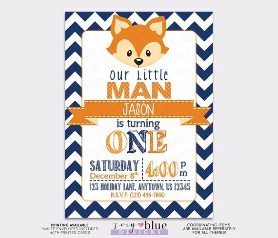 little fox birthday invitation birthday party navy blue fox boy