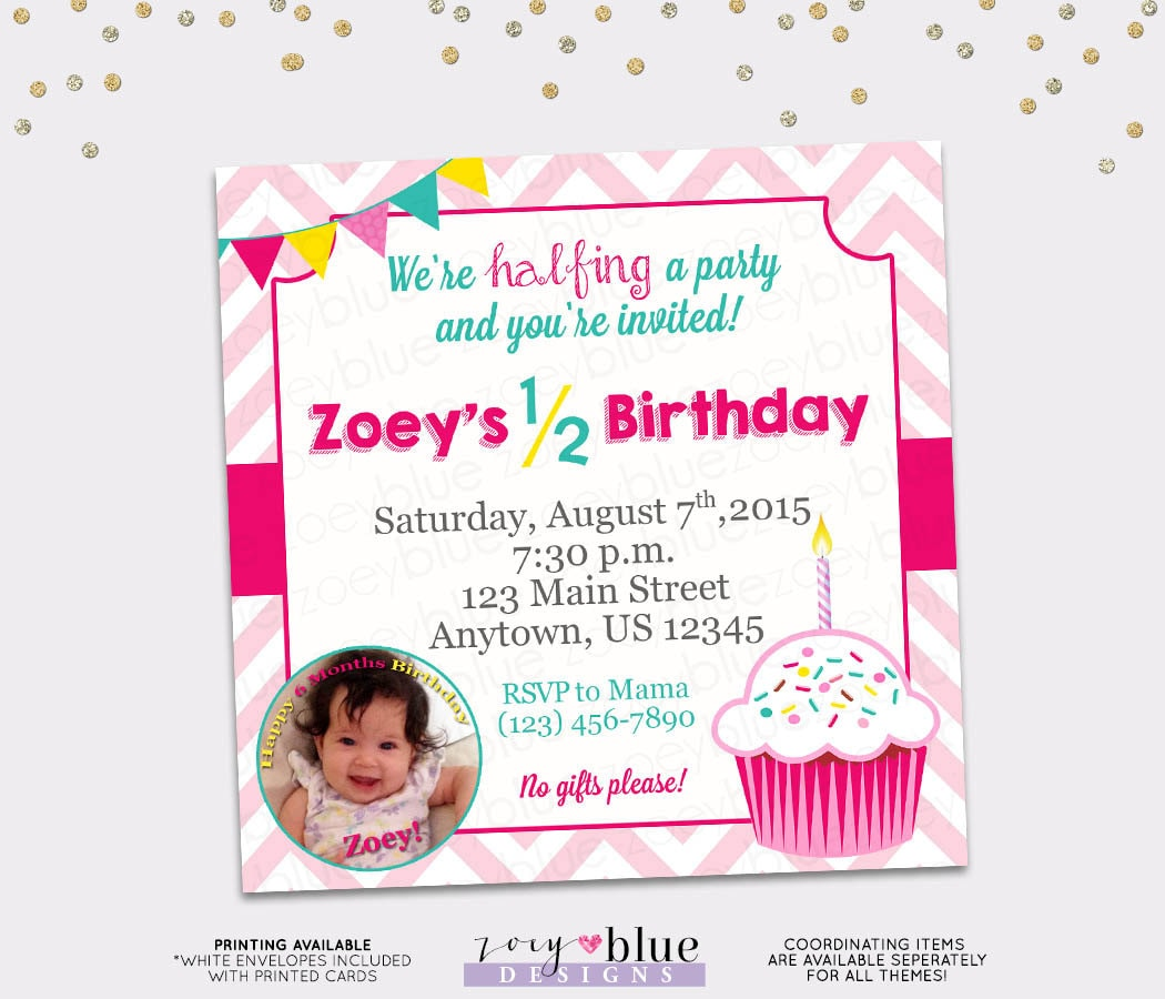 Half Birthday Party Invitation Girl Cupcake 6 Month Invite Pink Chevron Aqua Yellow