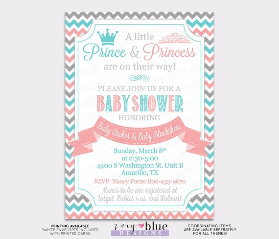 Prince Princess Twin Baby Shower Invitation Boy Girl Aqua Blue Pink Chevron Twin Shower Invitation Gender Reveal Printable Digital File