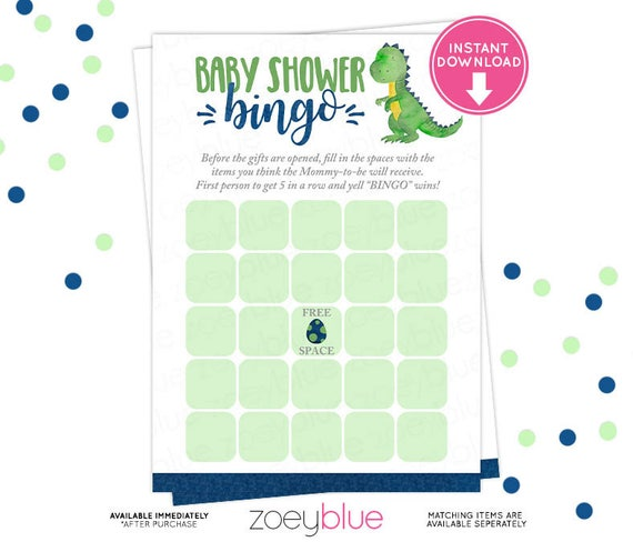 Dinosaur Baby Shower Bingo Card Blue Green Dino Blank Bingo Card
