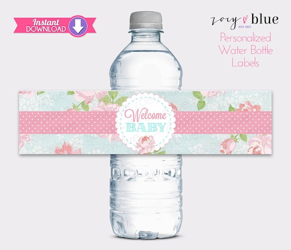 Shabby Chic Water Bottle Labels Shabby Chic Baby Shower Floral