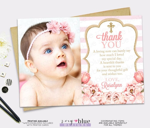 Blush Pink Gold Glitter Thank You Card Girl Floral Baptism Thank